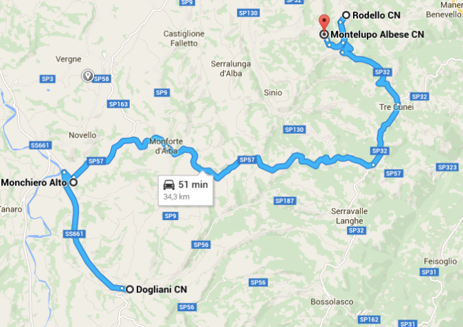 percorso Rodello - Dogliani